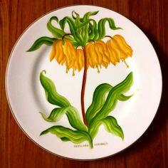 """Set. de pratos """"Botânica"""" pintados a mão"""