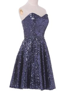 Tidetell.com Shining A-line Sweetheart Knee Length Sequined Homecoming/Cocktail Dress With Beads, navy blue homecoming dresses, unique homecoming dresses, shining homecoming dresses, cheap homecoming dresses, strapless homecoming dresses