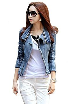 Fanala Womens Stylish Punk Lapel Zipper Denim Jean Coat Jacket Slim Outerwear ** Check this awesome product by going to the link at the image.(This is an Amazon affiliate link and I receive a commission for the sales)