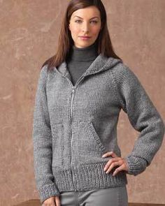 This knit jacket is perfect for someone who likes options. You can create it with a collar or with a hood. This is a great free knitting pattern as you can make many and have them still look different.