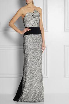 Roland Mouret Tarazed stretch-crepe and lace gown NET-A-PORTER.COM
