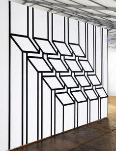 Inspiring DIY Tape Mural for Home Wall Decor – Rockindeco Inspiring Creative DIY Tape Mural for Wall Decor 54 Washi Tape Wall, Tape Wall Art, Masking Tape Art, Diy Wall Painting, Tape Painting, Tape Installation, Motif Art Deco, Ideias Diy, Wall Patterns