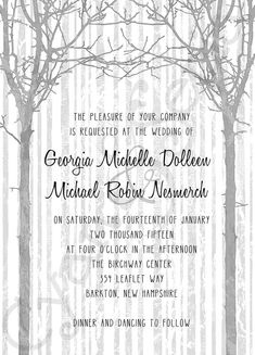 Winter Trees : Printable 5x7 Wedding Invitation : tree wood branches twig birch rustic nature modern casual grey gray silver black white : by Cyan & Sepia