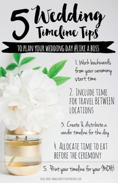 Don't Make These Wedding Day Timeline Mistakes! Couples forget to schedule time to eat while getting ready, don't include travel time between locations . Wedding Planning On A Budget, Wedding Planning Timeline, Wedding Day Tips, On Your Wedding Day, Dream Wedding, Wedding Ideas, Diy Wedding, Wedding Venues, Wedding Details