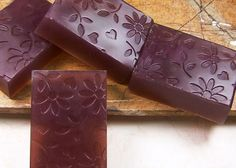 Pomegranate scented handmade glycerin soaps.