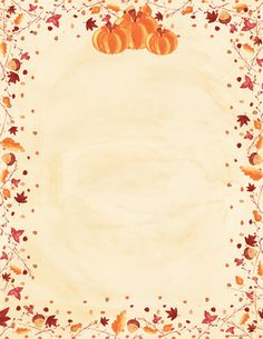 Fall stationery that is perfect for sending out your seasonsal announcements or an invitation for gathering for thanksgiving.  This paper has a border filled with fall leaves and acorns and has pumpkins on the top center of the paper.  Colored envelpes are available but are sold seperately.