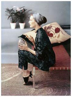 John Rawlings Mary Jane Russell in Chinese silk pajamas,Vogue, December1953