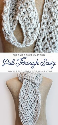 Pull Through Adjustable Scarf Crochet Pattern by Rescued Paw Designs