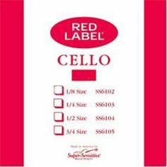 Super Sensitive Red Label 1/8 Cello D String - Medium Gauge by Super Sensitive. $9.37. Super Sensitive Red Label strings are one the most popular in America. Economically priced, the strings are made with high quality winding and core materials providing the durability and dependability required by the school orchestra programs. These durable strings provide good tonal quality and dependability. Red Label strings are especially favored by Suzuki Method instructors, scho...