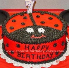 Ladybug Party – This was the cake design!  My first time using a pastry bag!  It came out sooooo well!  It was ladybug on the inside too – I dyed all but a cup of the cake batter red (the extra cup I dyed black).  I poured in a thin layer of batter, then