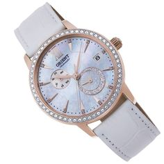 Ladies Watches, Sport Watches, Watches For Men, Orient Watch, Watch Companies, Stainless Steel Case, Pearl White, Michael Kors Watch, White Leather