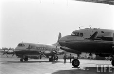 Capital Airlines Viscount and DC-4 at Atlanta Municipal Airport in 1956.
