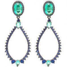 Brinco azul com cristais e zircônias semi-joia