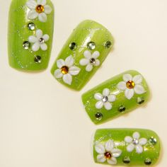 Aliexpress.com : Buy Summer flower green nail art patch green paragraph false nail from Reliable gel nail suppliers on Jessie's shop. $5.90