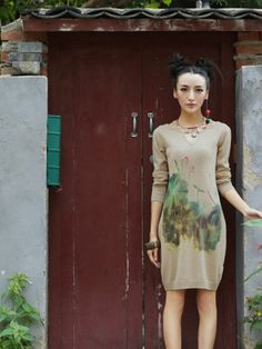 lotus bare collar sweater dress $81 #asianicandy #cutefashion #asianfashion #bohemian #folkstyle #kawaii #sweet #morigirl