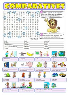 Comparative adjectives worksheet - Free ESL printable worksheets made by teachers Teaching English Grammar, English Grammar Worksheets, Grammar Book, Grammar And Vocabulary, Grammar Lessons, English Vocabulary, English Lessons, Learn English, Comparative Adjectives Worksheet