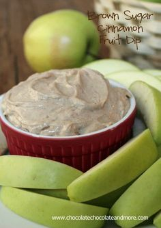 Cinnamon cream cheese dip  1 bar (8ounces) cream cheese, softened 2/3 cup brown sugar 1 teaspoon cinnamon dash of nutmeg (optional) 1/2 teaspoon vanilla  Cream together all ingredients until well mixed and smooth.   **i added a half cup of whipped cream to make it lighter and served with sliced Granny Smith apples-hubby loved it