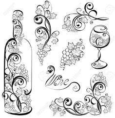 Wine Bottle And Wineglass With Grapevines Royalty Free Cliparts ...:
