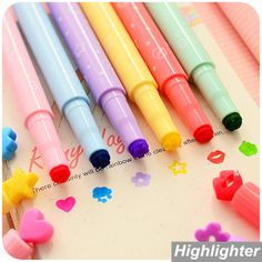 Find More Highlighters Information about 6 pcs/Lot Cute stamp Highlighter Marker pen for reading DIY scrapbooking Stationery material escolar School supplies 6285,High Quality pen ac,China highlighter makeup Suppliers, Cheap highlighter marker from V&P Home Beauty Co.,Ltd on Aliexpress.com