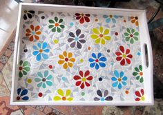 Tray/Daisy Tray/ Serving Tray/Mosaic Tray/Floral Tray by byGuls Mosaic Patio Table, Mosaic Tray, Mosaic Tile Art, Mosaic Glass, Marble Mosaic, Mosaic Art Projects, Mosaic Crafts, Mosaic Designs, Mosaic Patterns