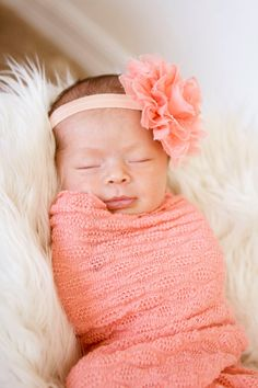 Bebé recién nacido venda venda de flor de durazno cordón