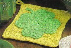 free crochet shamrock potholder