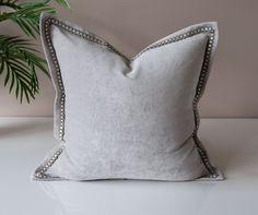 Gray Velvet Throw Pillow Cover - Solid Throw Pillow -Gray Throw Pillows - Velvet Pillow Cover - Flange Pillow -Silver Pillows -Trim Pillow