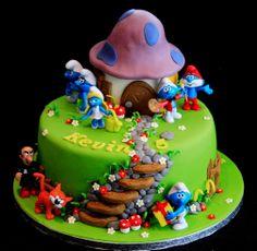 Smurf Cake Cake Icing, Buttercream Cake, Fondant Cakes, Cupcakes, Cupcake Cakes, Chocolate Diy, Cake Works, Occasion Cakes, Baby Cakes