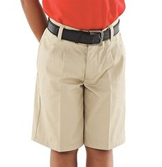 French Toast Boys' Adjustable Waist Pleated Short (18 Husky, Khaki) ** To view further, visit