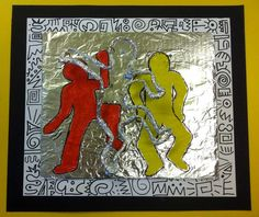 Keith Haring art project - wire, paint, foil
