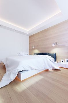 Clean and simple bedroom with amazing wood walls \ #minimalist #bedroom \ 100 M by LINE architects \ Chișinău, Moldova, 2012