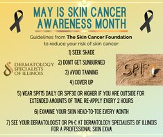 It's Skin Cancer Awareness Month. Text us at 847-458-7546 to schedule your skin check appointment for this month! . . Visit www.skincancer.org for more information! . . #skincancer #melanoma #skincare #dermatology #cancer #skincancerawareness #sunscreen #skin #mohs #skincancerprevention #spf #health #thyroidcancer #dermatologist #plasticsurgery #botox #psoriasis #skincancersurgery #heartdisease #herpes #may #derm #dsi #algonquinil #mchenrycounty Thyroid Cancer, Heart Disease, Plastic Surgery, Cancer Awareness, Sunscreen, Schedule, Skincare, Health, Salud