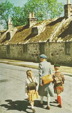 Kids coming home from school in Kinloss, Scotland.  National Geographic