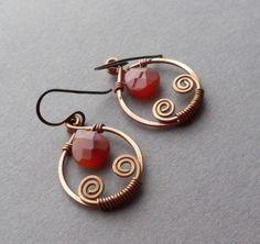 Handmade Copper Agate Artisan Earrings by kristine