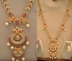 Latest haram designs which will definetely attract each and everyone.Precious diamonds studded long harams with pearls and rubies all over Bridal Jewelry, Gold Jewelry, Gold Necklaces, Bridal Necklace, Jewelry Sets, Gold Models, Pendant Design, Short Necklace, Schmuck Design