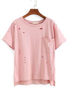 Ripped High-Low Pocket T-shirt