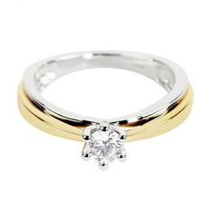 Berry's 18ct Yellow & White Gold Podium Style Solitaire Diamond Engagement Ring