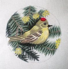 Handpainted Needlepoint canvas Ruby Crowned Kinglet by colors1