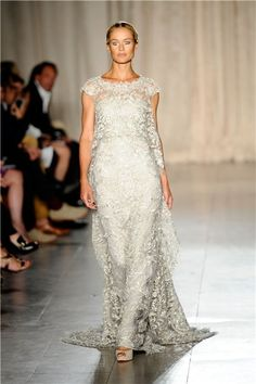 Wedding dress style at Fashion Week 2013 - Wedding dresses - YouAndYourWedding. Gorgeous palest silver grey from Marchesa