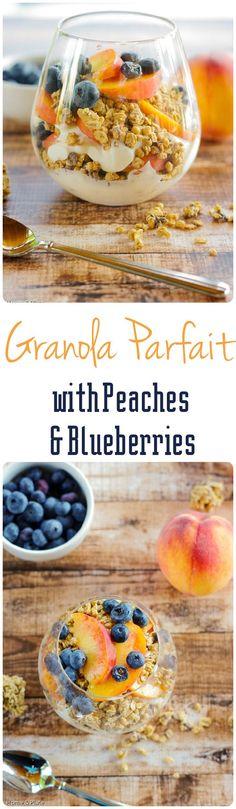 Granola Parfaits with Peaches & Blueberries. Enjoy a healthy breakfast of yogurt, fresh fruit and granola.