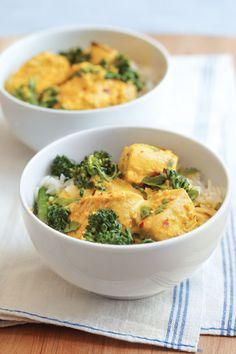 This curried mahimahi with Chinese broccoli recipe employs bright seasonings such as cilantro, ginger and turmeric to make a flavorful sauce.