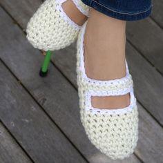 Crocheted Mary Jane Slippers Women's House by WhiteNoiseMaker