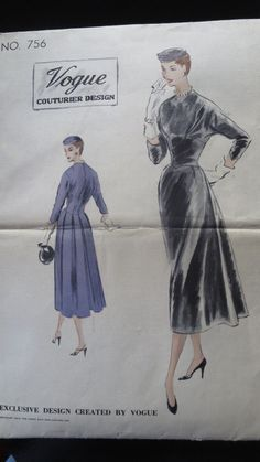 VCD 756 Dress 1953 Sz14/32/35 uncut 7pcs Day Evening Dress sld 10.49+2.45 2bds 9/4/16 The bottom skirt has a straight front,with box pleats in back,& joins the bodice at a slightly lowered shaped waistline. Released darts from side front seams & a collarless round neckline.The kimono sleeves are 3/4 length are set into the back. zipper closing in center back.  fabrics:crepe,taffeta,shantung,peau de soie,satin,woolCrepe,sheerWoolens,&faille crepe. Not for velvet/velveteen.
