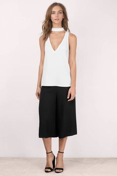 """Shop the """"Hideaway White T Shirt"""" on Tobi.com now! choker neck sleeveless casual outfit top blouse tank dressy chic school work attire"""
