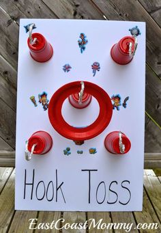 Jake and the Neverland Pirates Party Games & Activities. Check out the tutorial to see how to make this hook toss with dollar store supplies. LOVE!