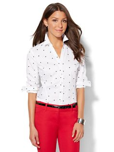 Shop 7th Avenue Design Studio - Madison Stretch Shirt - Embroidered Dot . Find your perfect size online at the best price at New York & Company.