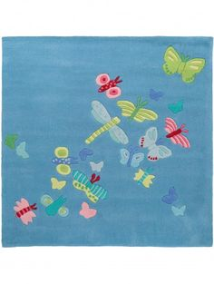 Summer Butterly Kids Rug Blue 140x140 cm