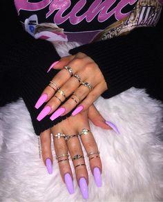 Acrylic nails summer nails nails natural nails gel nails glitter na Gorgeous Nails, Pretty Nails, Bright Summer Nails, Bright Nails, Nails Summer Colors, Bright Acrylic Nails, Matte Purple Nails, Pink Acrylics, Gold Nail Designs