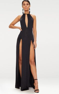 Black High Neck Cut Out Detail Extreme Split Maxi Dress