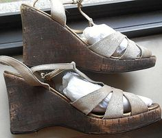 954b43a8f4f Unisa Silver Glitter Ankle Strap Wedge Sandals Brown Cork Heel Womens 8-  8.5 GUC